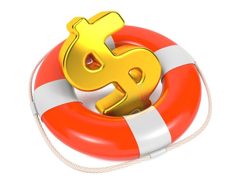 Il dollaro firma dentro Lifebuoy rosso. Isolato su bianco. royalty illustrazione gratis