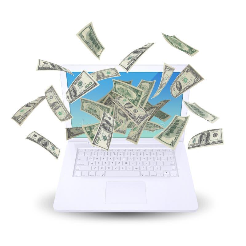 Il dollaro nota il volo intorno al computer portatile fotografia stock