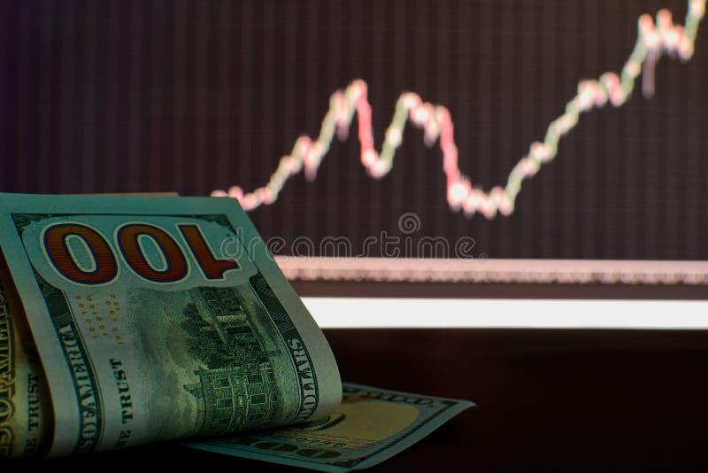 Il dollaro sta coltivando il grafico e un'istantanea immagine stock libera da diritti