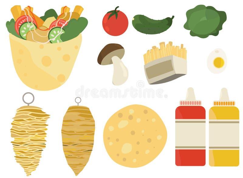Il doner di kebab ha messo gli ingredienti piani di ricetta delle illustrazioni degli alimenti a rapida preparazione di colore illustrazione di stock