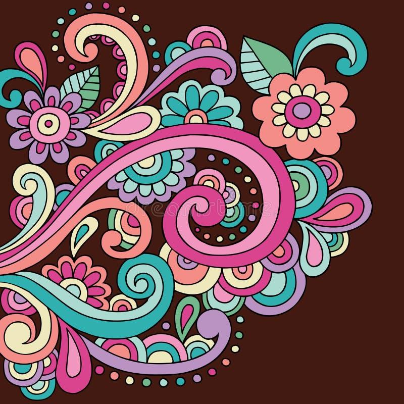 Il Doodle del hennè di Doodle fiorisce e turbina vettore illustrazione vettoriale