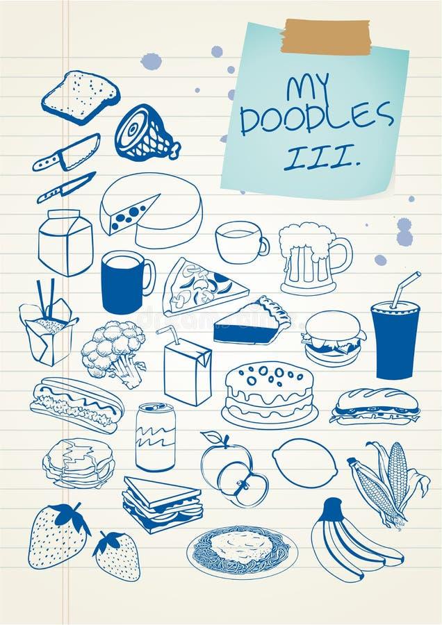 Il Doodle ha impostato 3 illustrazione di stock