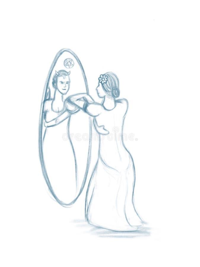 Il doppio di ipocrisia ha affrontato l'illustrazione di signora In The Mirror royalty illustrazione gratis