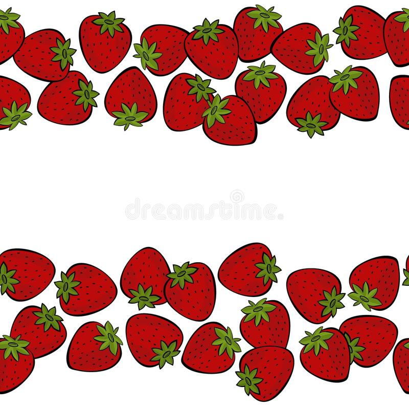 Il doppio orizzontale delle fragole rosse rasenta l'illustrazione bianca della frutta illustrazione vettoriale