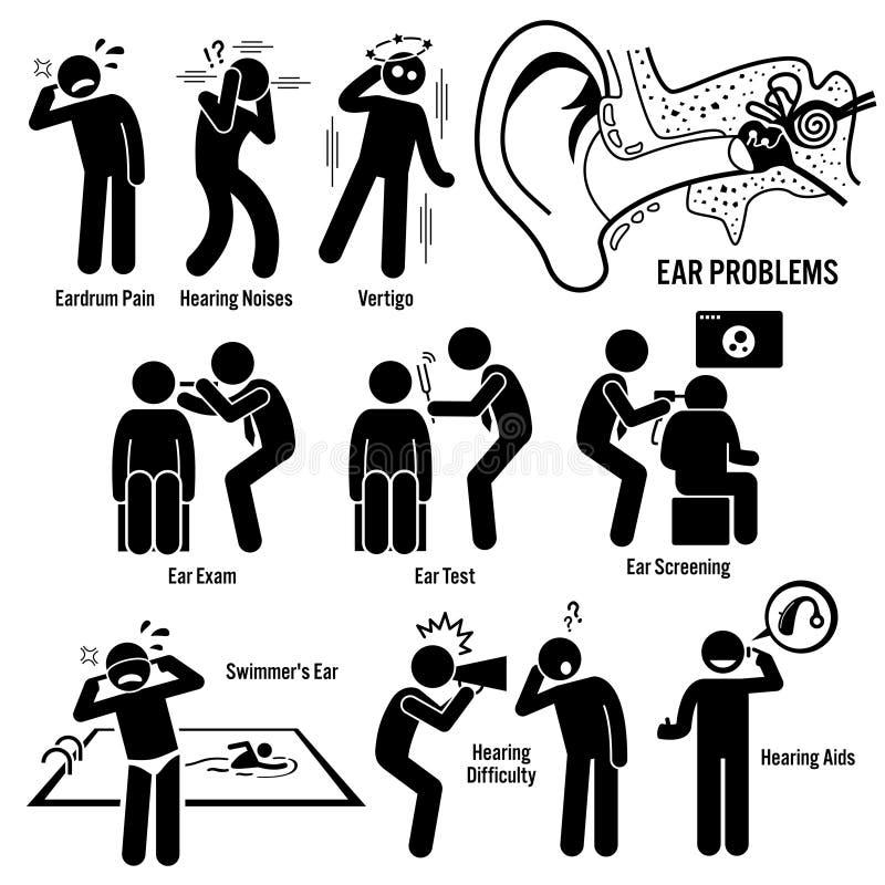 Il dottore Examination Clipart di diagnosi dell'orecchio illustrazione vettoriale
