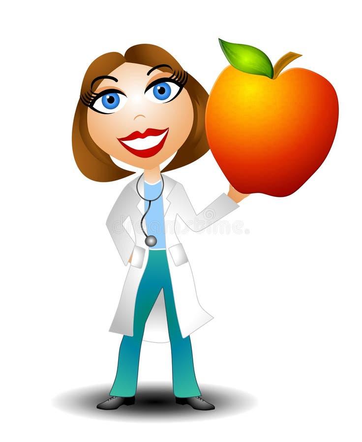 Il dottore femminile Holding Apple illustrazione di stock