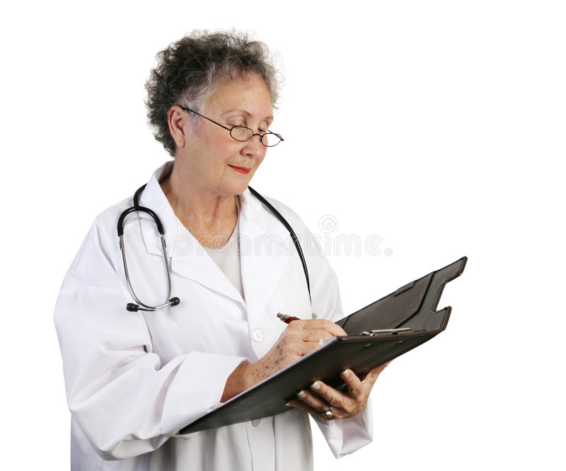 Il dottore femminile maturo Taking No fotografia stock libera da diritti