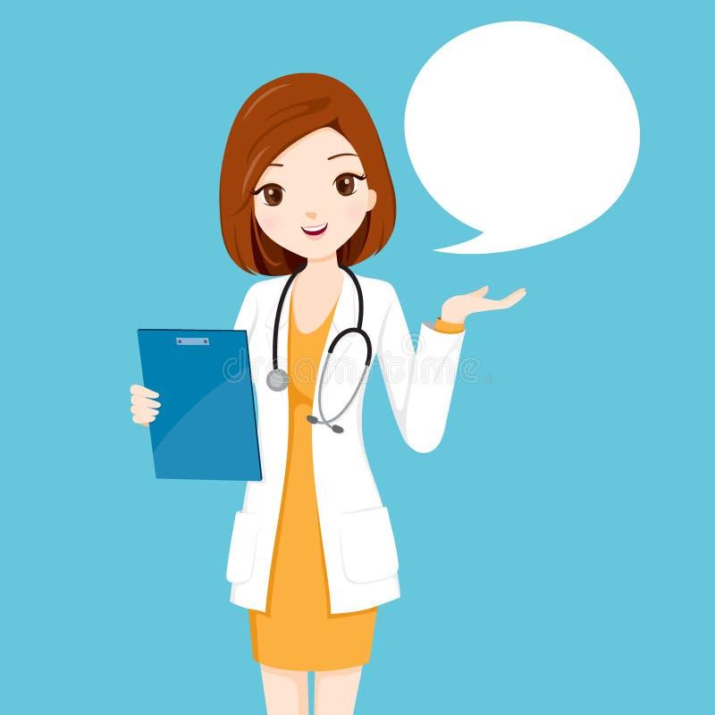 Il dottore Holding Clipboard Talking della donna royalty illustrazione gratis