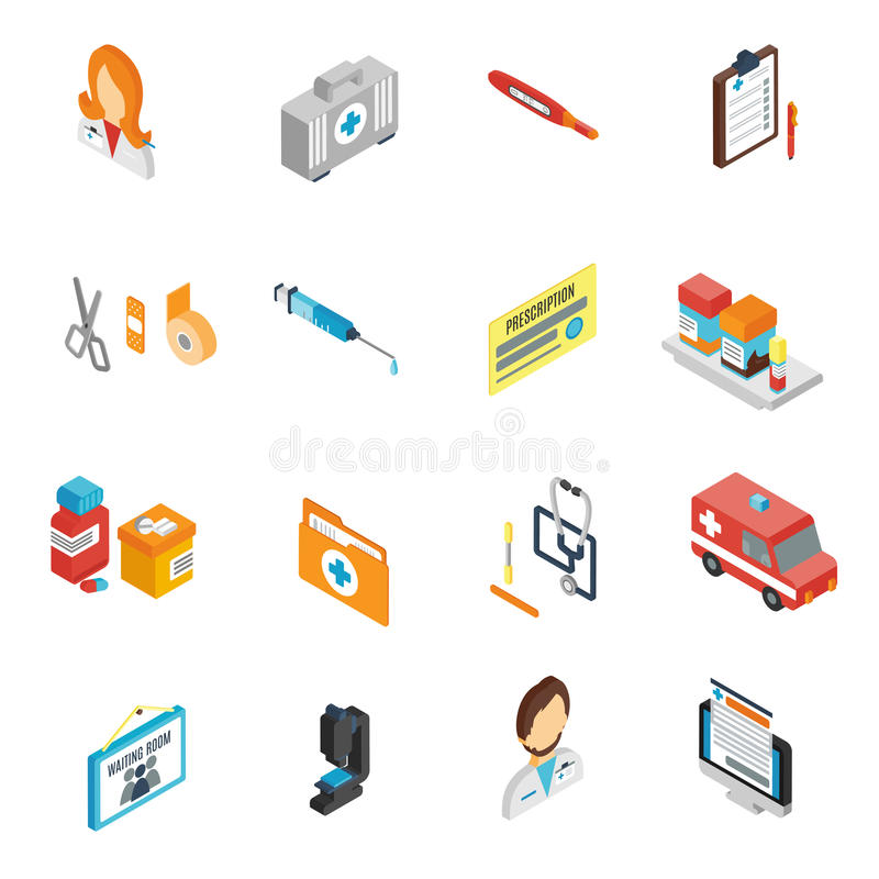 Il dottore Icon Isometric Set illustrazione di stock