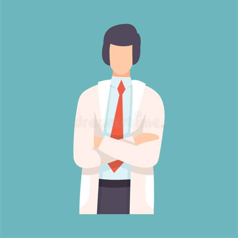 Il dottore maschio Standing con le mani piegate, carattere professionale del lavoratore medico nell'illustrazione bianca di vetto illustrazione di stock
