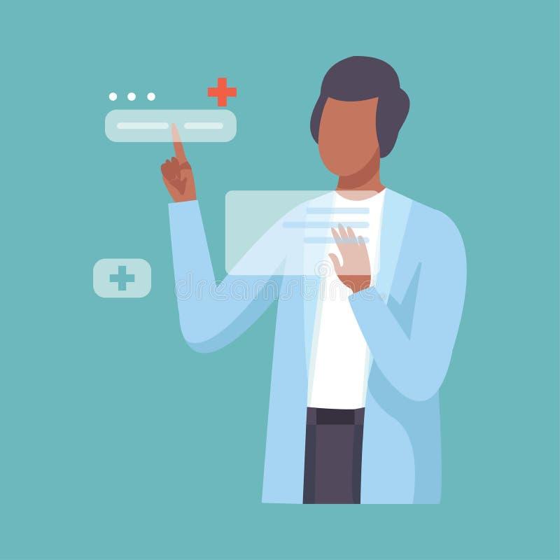 Il dottore maschio Working con l'interfaccia commovente della mano, carattere professionale in cappotto del laboratorio, futuro d illustrazione di stock