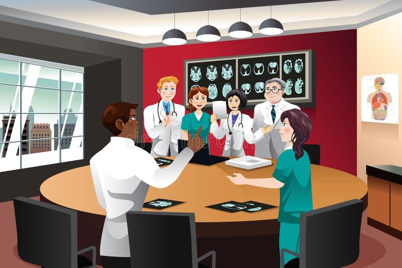 Il dottore Meeting con il gruppo di diagnosi illustrazione di stock