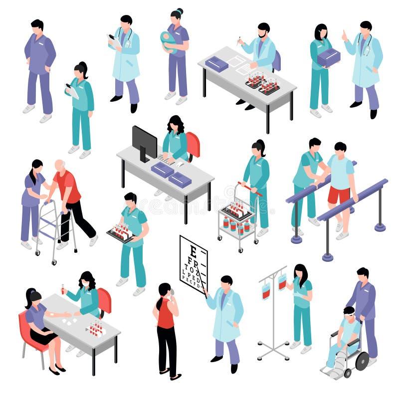 Il dottore Nurse Hospital Isometric Set illustrazione di stock