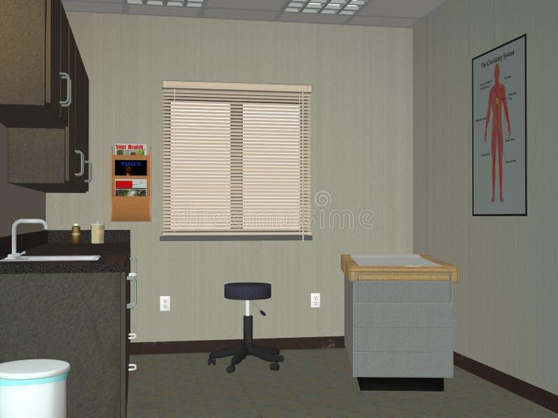 Il dottore Office, illustrazione della stanza dell'esame medico illustrazione di stock