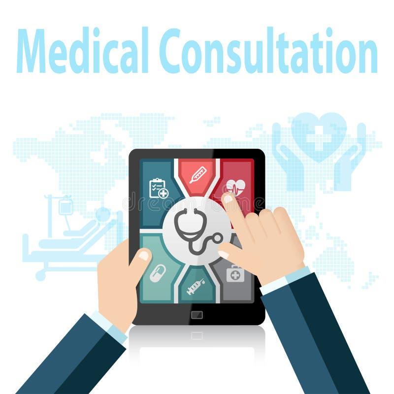 Il dottore online Apps di visita medica sul dispositivo mobile illustrazione vettoriale