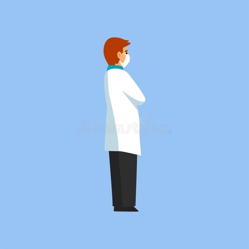 Il dottore professionista maschio Character Standing con le mani piegate, il lavoratore della clinica medica o l'ospedale in capp illustrazione vettoriale