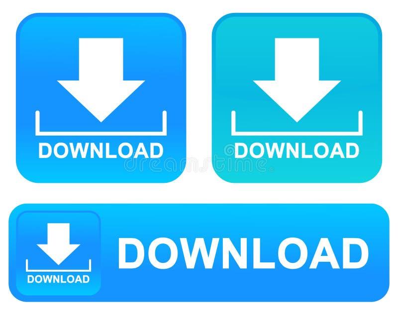 Il download abbottona le icone di web ha messo la nuova illustrazione di vettore di colore illustrazione di stock