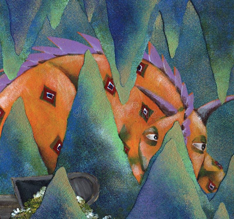 Il drago nelle rocce che attaccano dalla caverna illustrazione vettoriale