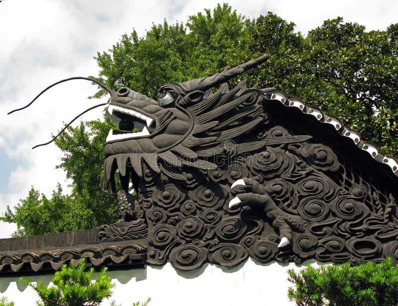 Il drago sulla parete del giardino del mandarino yu fotografia stock immagine di nero coltura - Giardino del mandarino yu ...