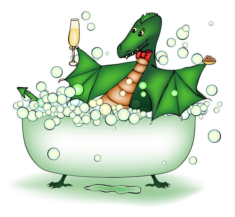 Il drago verde si distende nel bagno royalty illustrazione gratis