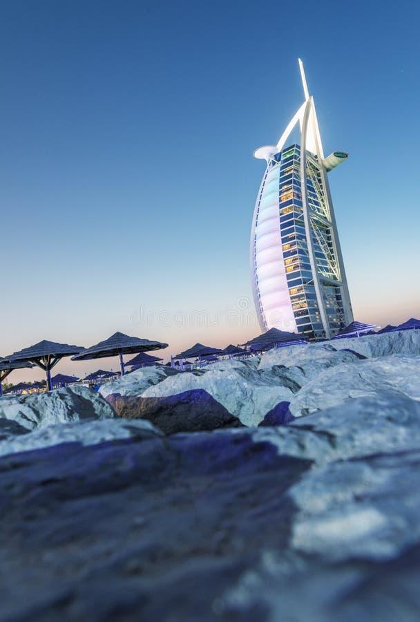 IL DUBAI, UAE - 9 OTTOBRE 2015: Burj Al Arab, uno dei più famose immagini stock