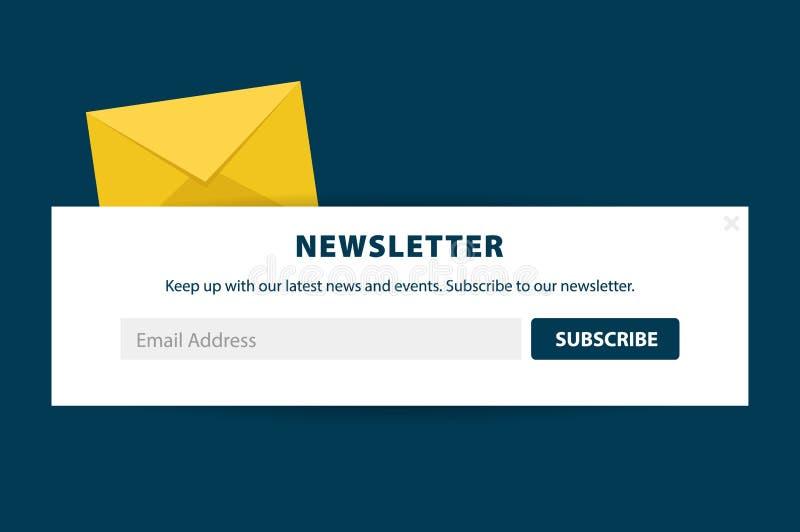 Il email sottoscrive, bollettino online, sottopone il bottone Busta e sottoscrivere bottone Progettazione di UI UX Illustrazione  illustrazione di stock