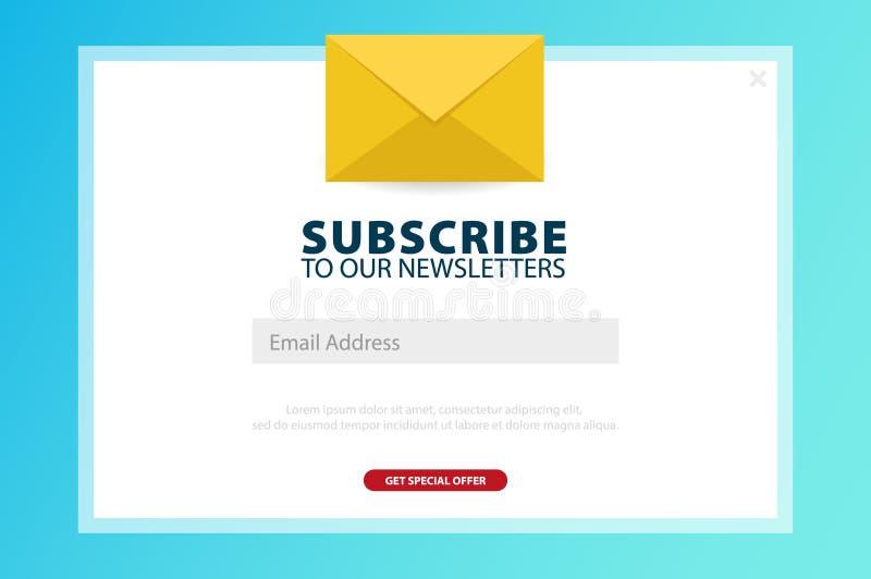 Il email sottoscrive, bollettino online, sottopone il bottone Busta e sottoscrivere bottone Progettazione di UI UX Illustrazione  royalty illustrazione gratis