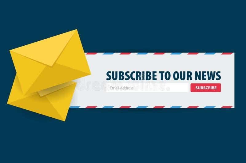 Il email sottoscrive, bollettino online, sottopone il bottone Busta e sottoscrivere bottone Progettazione di UI UX Illustrazione  illustrazione vettoriale