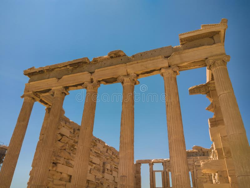 Il Erechtheion o il Erechtheum è un tempio del greco antico immagine stock libera da diritti