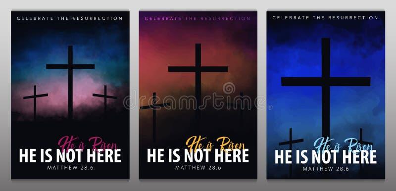 Il est levé Scène de Pâques de chrétien La croix du sauveur sur la scène dramatique de lever de soleil illustration de vecteur