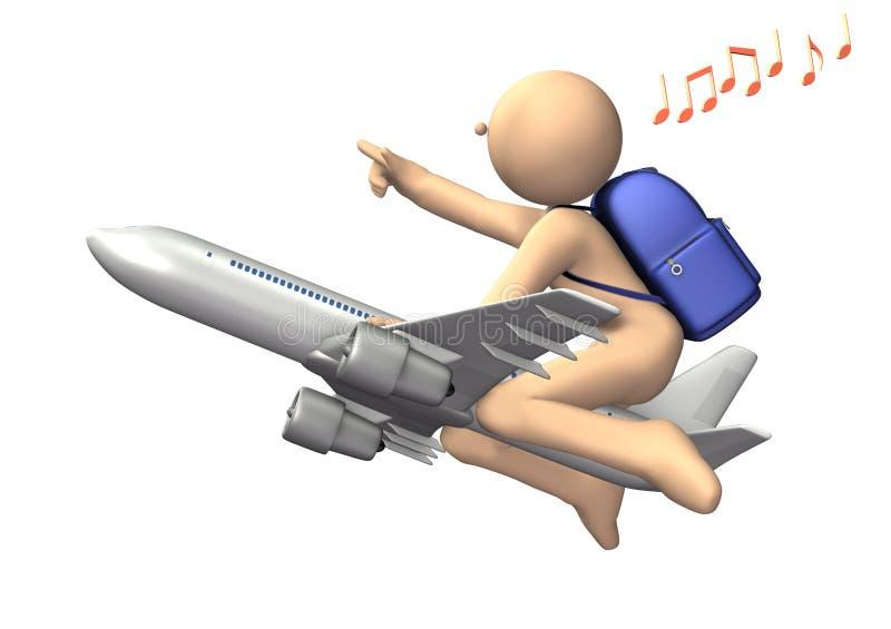 Il est sur un avion dirigé au nouveau monde. illustration libre de droits