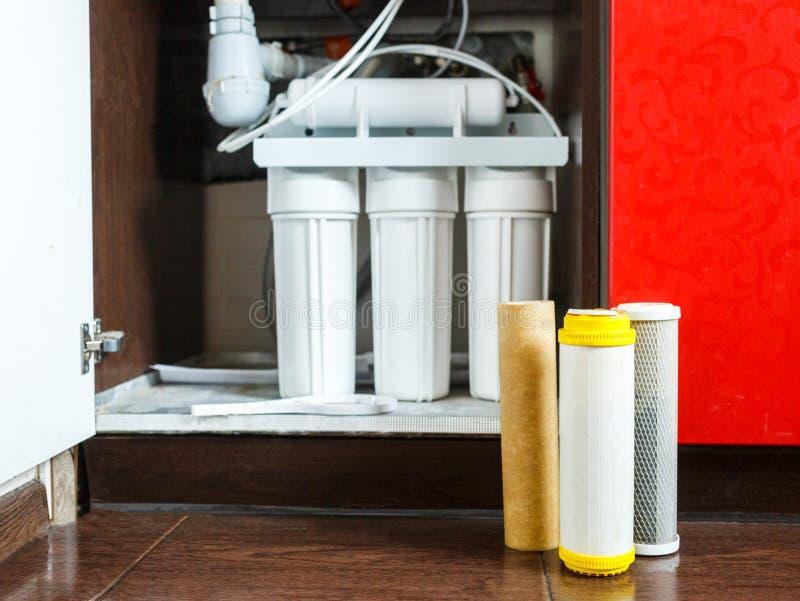 Il est temps de changer des filtres d'eau ? la maison Remplacez les filtres dans le syst?me d'?puration de l'eau Vue haute ?troit images libres de droits