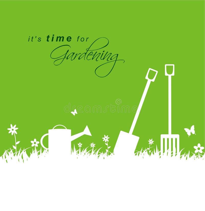 Il est temps pour le jardinage Fond de jardinage de ressort avec la pelle, illustration de vecteur