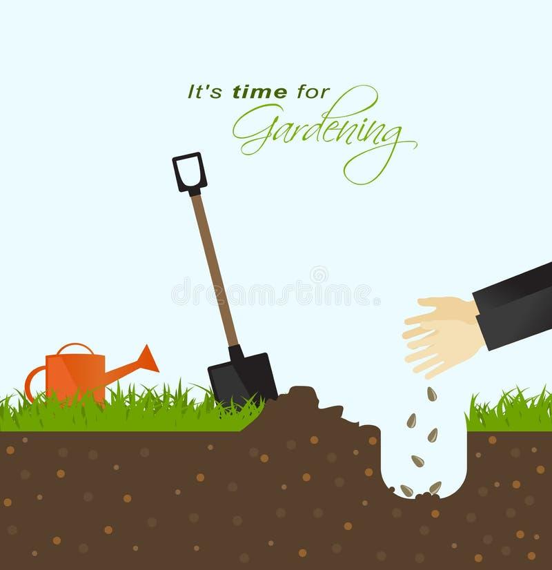 Il est temps pour le jardinage Personne mettant des graines dans la terre avec illustration libre de droits
