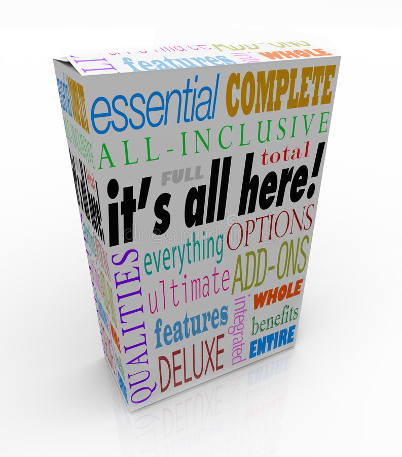 Il est tout ici boîte de produit toutes les caractéristiques incluses illustration stock