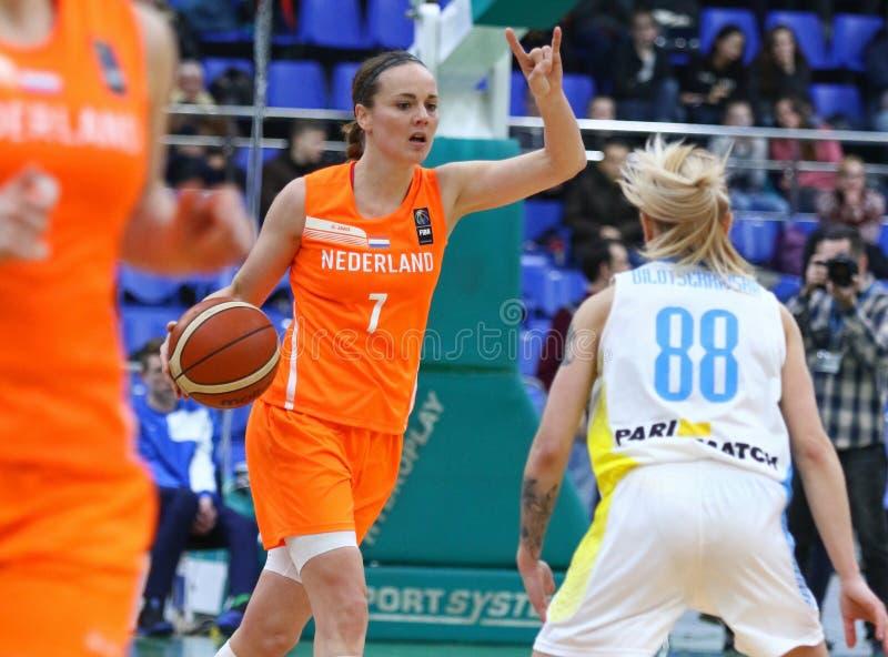 Il EuroBasket 2019 delle donne di FIBA: L'Ucraina v Paesi Bassi fotografie stock libere da diritti