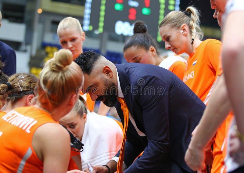 Il EuroBasket 2019 delle donne di FIBA: L'Ucraina v Paesi Bassi fotografia stock