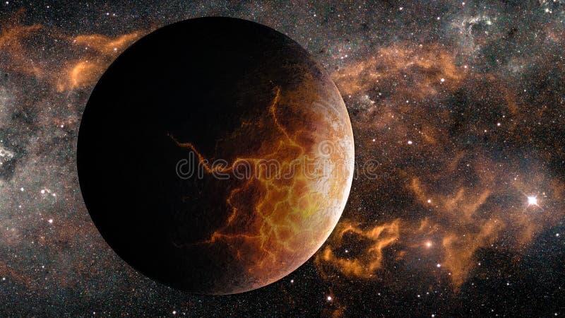 Il exoplanet estremamente caldo dello straniero di fantasia con lava si fende immagini stock libere da diritti