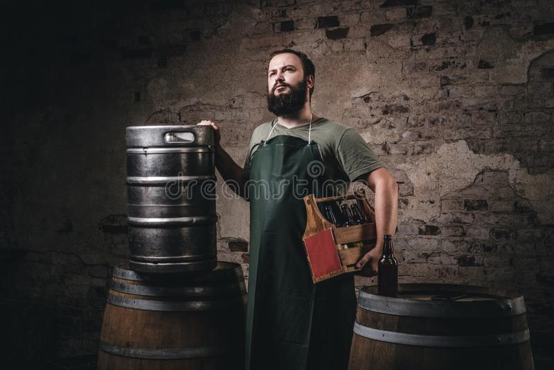 Il fabbricante di birra barbuto in grembiule tiene la scatola di legno con la birra mentre sta i barilotti vicini alla fabbrica d immagini stock