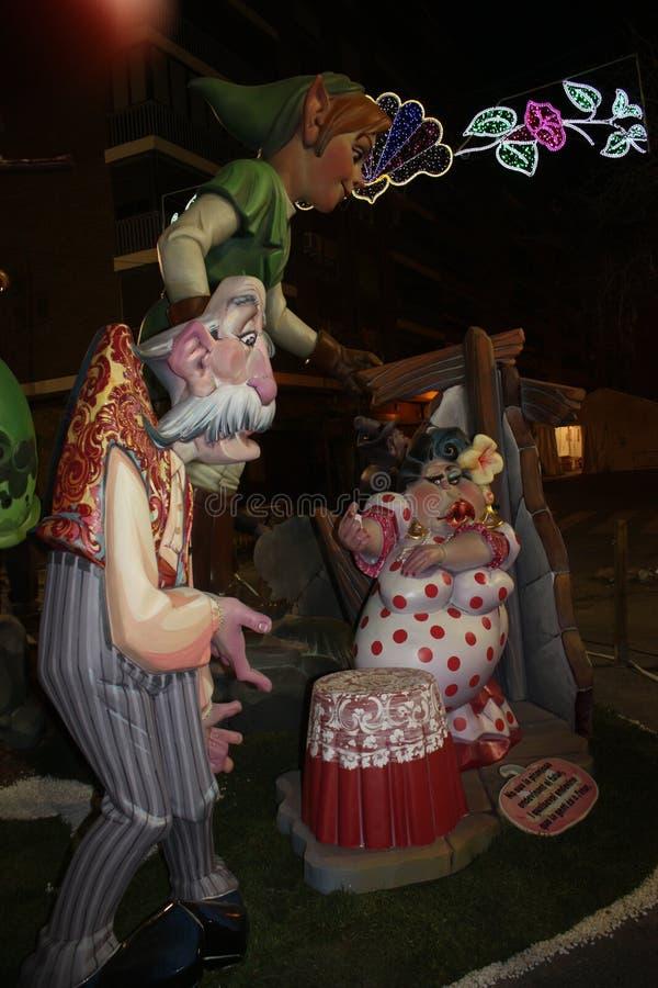 Il Falles nella città di Valencia immagine stock