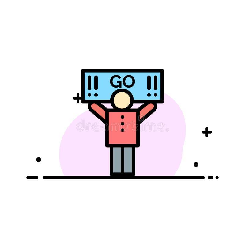 Il fan, sport, supporto, linea piana di affari del sostenitore ha riempito il modello dell'insegna di vettore dell'icona illustrazione di stock