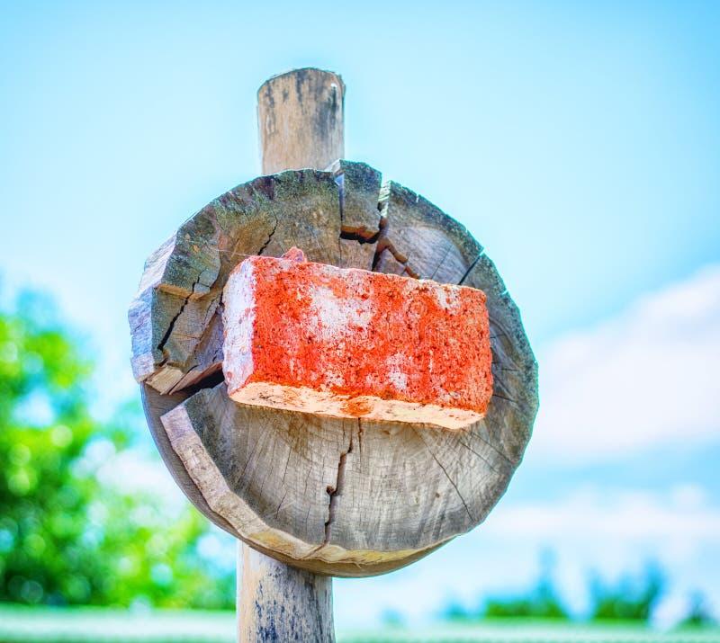 Il fanale di arresto fatto di legno immagine stock libera da diritti