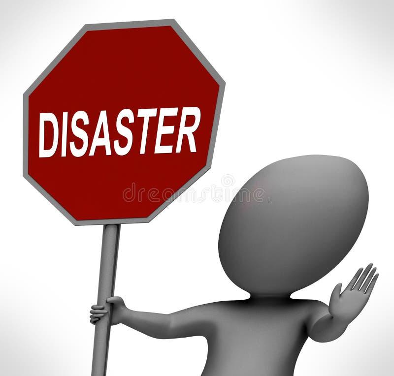 Il fanale di arresto rosso di disastro mostra la difficoltà o la calamità di crisi illustrazione vettoriale