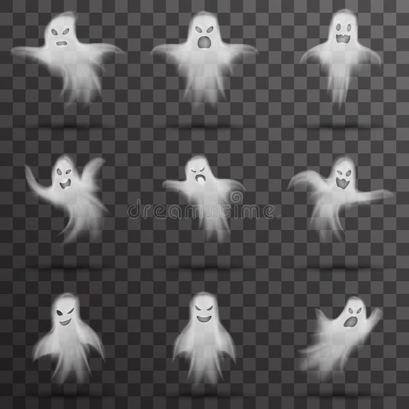 Il fantasma spaventoso bianco di Halloween ha isolato l'illustrazione trasparente di vettore del fondo di notte del modello illustrazione di stock
