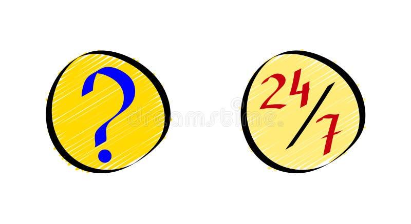 Il FAQ online o ha chiesto frequentemente le icone di domande messe nello stile di scarabocchio illustrazione vettoriale