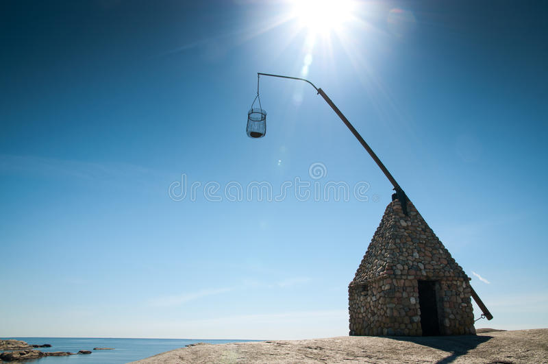 Il faro all'estremità di Verdens, Norvegia fotografia stock