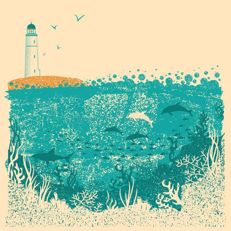 Il faro ed il mare ondeggia con il fondo subacqueo del mare sulla vecchia p royalty illustrazione gratis