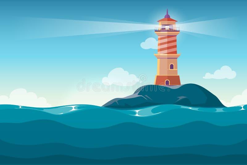 Il faro su roccia lapida il fondo di vettore del fumetto dell'isola illustrazione vettoriale