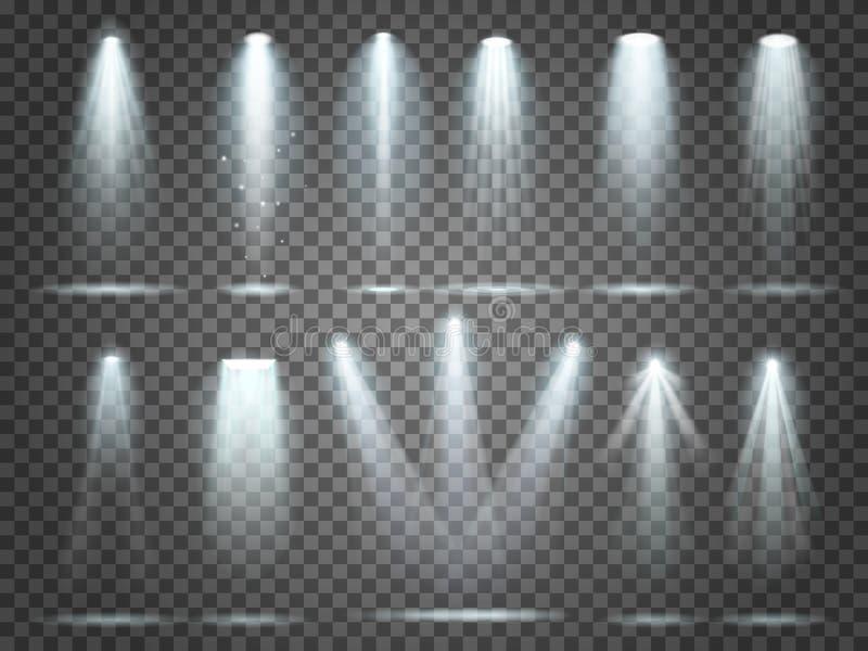 Il fascio di proiettore, lampadine si accende, riflettore dell'illuminazione di fase Proiettori e riflettori del partito del nigh royalty illustrazione gratis