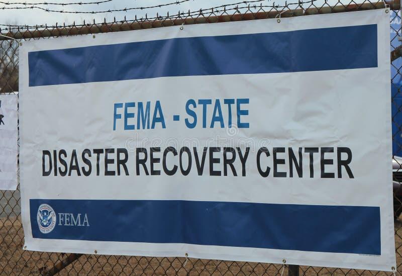 Il FEMA apre il centro di recupero da disastro nell'area devastante in seguito all'uragano sabbioso fotografia stock